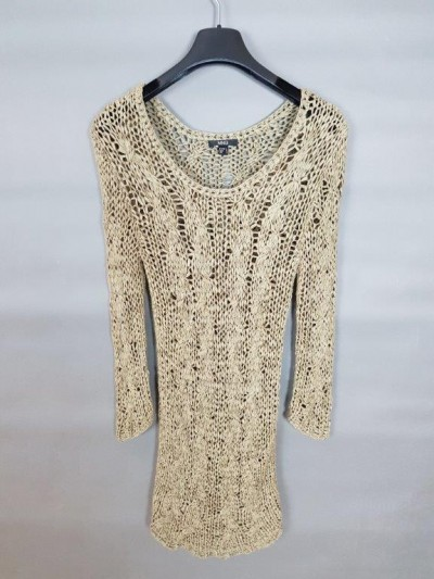 Mango Macrame Knit Top in Cappuccino Color-M