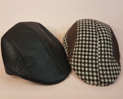 2 Flat Caps – Faux Quilted Leather + Checkered - Preloved