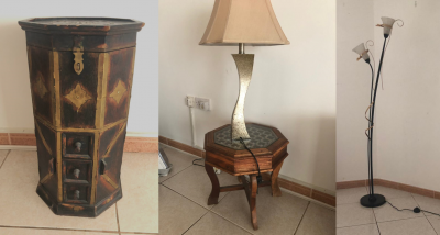 2 Lamps + Decorative Rustic Mini Stool