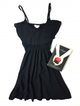 Cotton On black dress & Twilight book